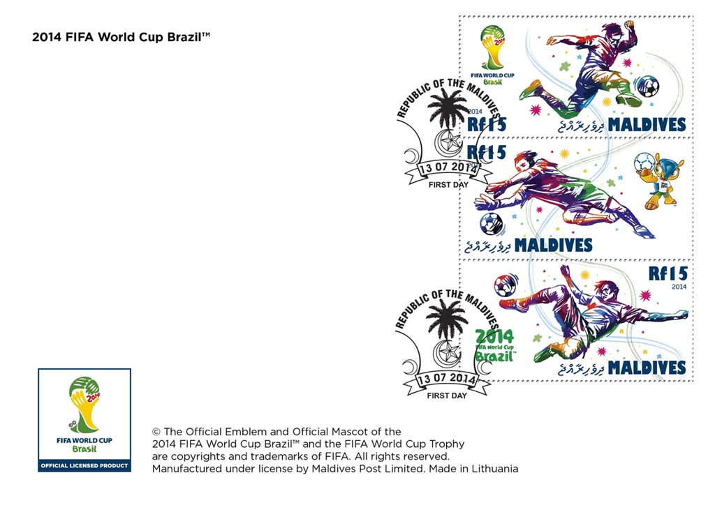 FIFA Football - Brazil 2014 - Issue of Maldives postage stamps