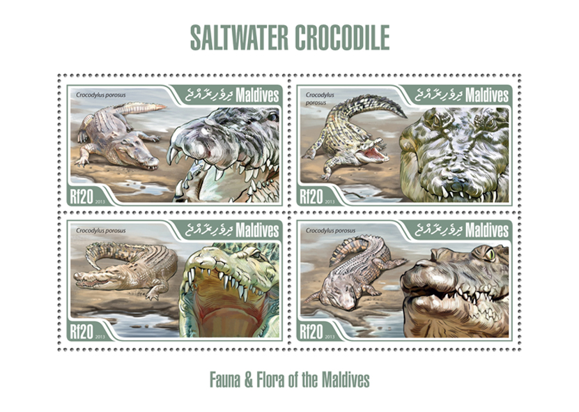 Crocodile - Issue of Maldives postage stamps