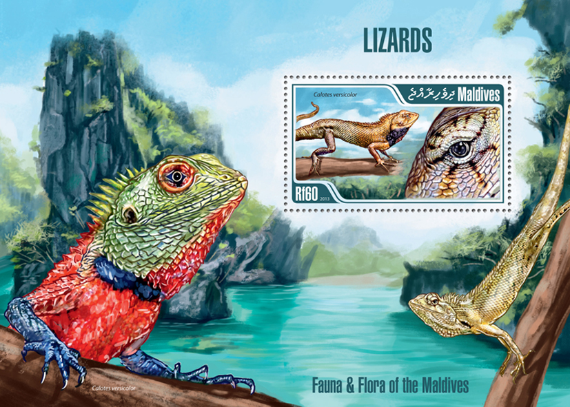 Lizards - Issue of Maldives postage stamps