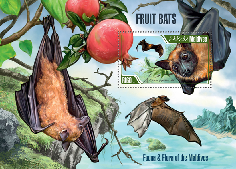 Fruits bats - Issue of Maldives postage stamps