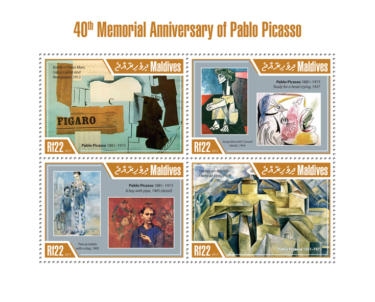 Pablo Picasso - Issue of Maldives postage stamps