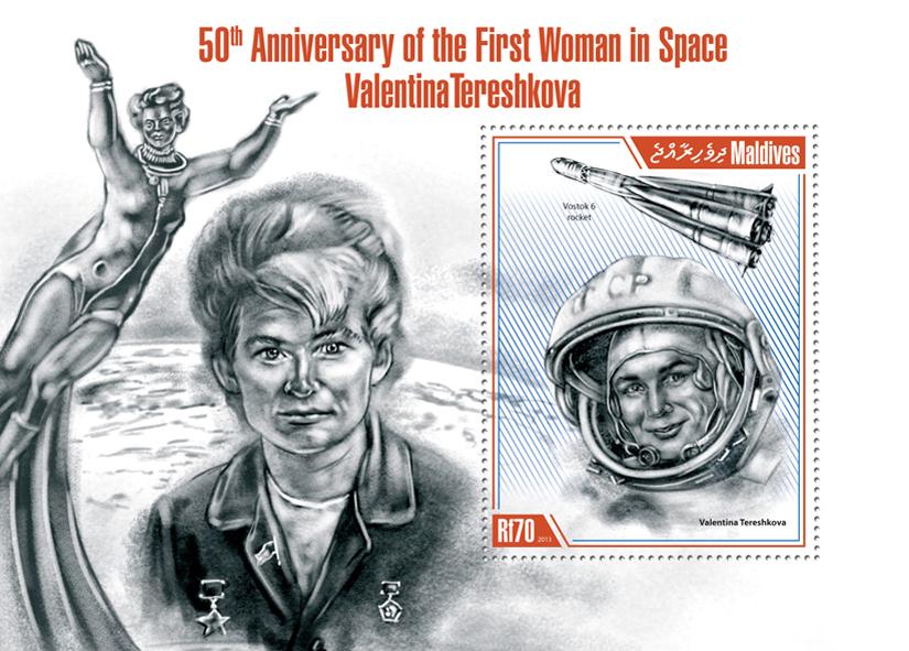 Valentina Tereshkova - Issue of Maldives postage stamps
