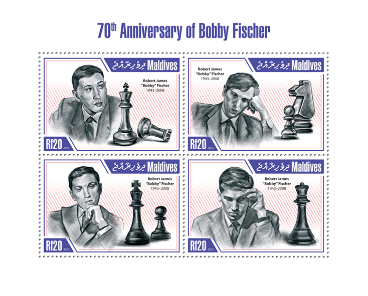 Bobby Fischer - Issue of Maldives postage stamps