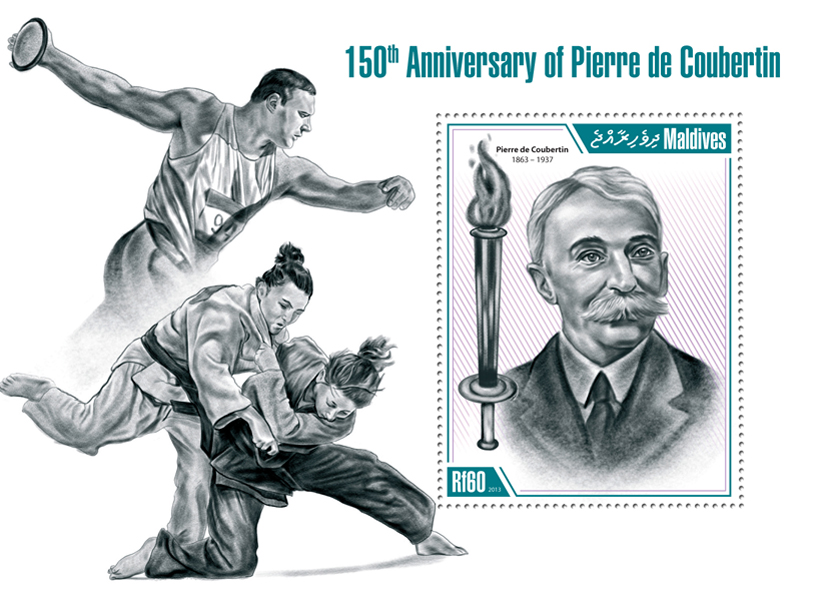 Pierre de Coubertin - Issue of Maldives postage stamps