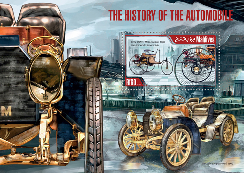 History of the Automobile - Issue of Maldives postage stamps