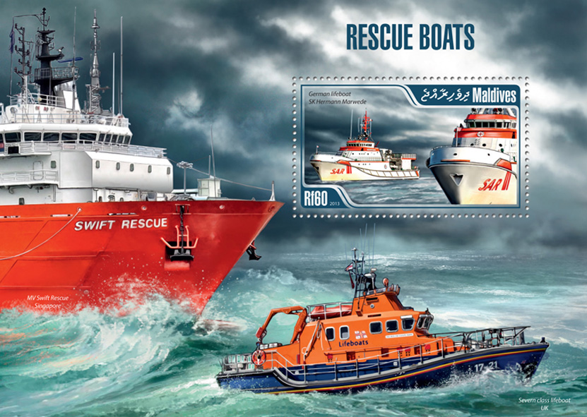 Rescue Boats - Issue of Maldives postage stamps