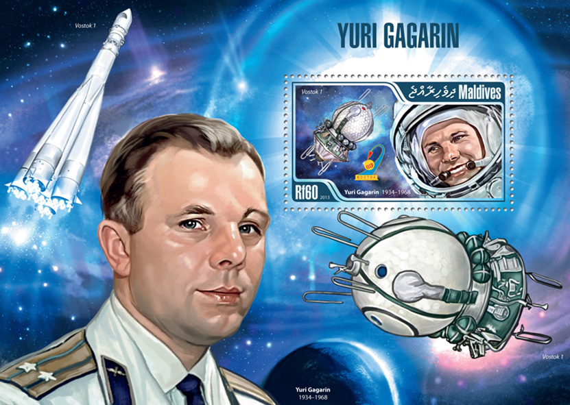 Yuri Gagarin - Issue of Maldives postage stamps