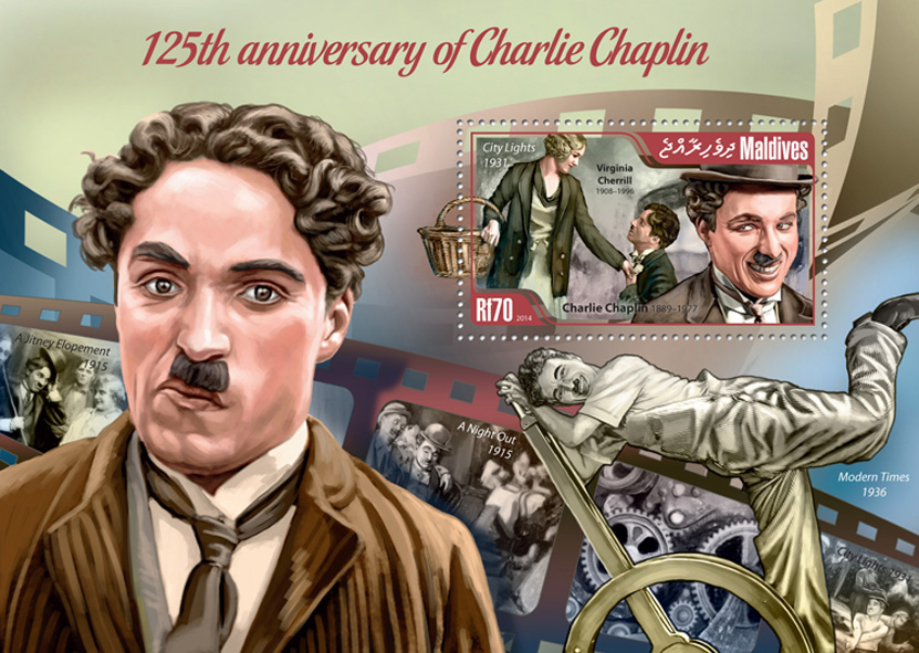 Charlie Chaplin - Issue of Maldives postage stamps