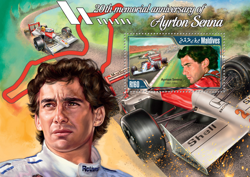 Ayrton Senna - Issue of Maldives postage stamps
