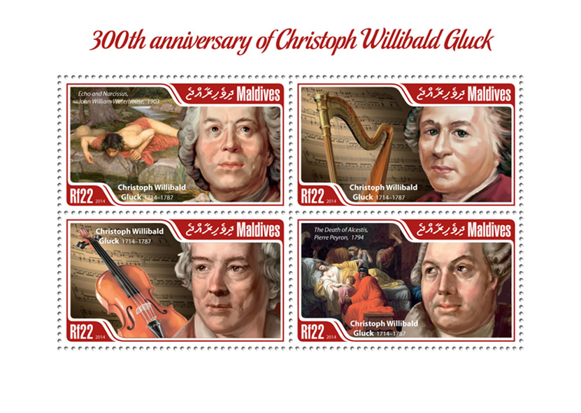 Christoph Willibald Gluck - Issue of Maldives postage stamps