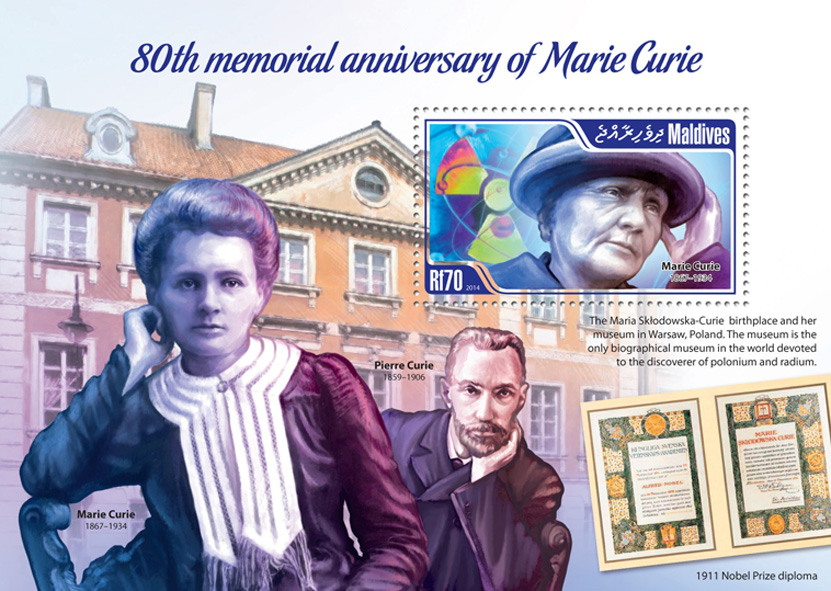 Marie Curie  - Issue of Maldives postage stamps