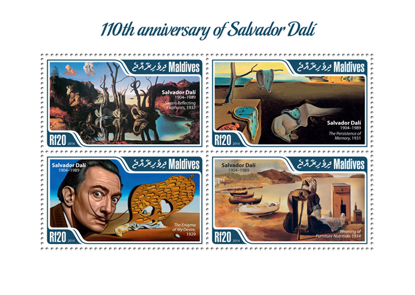 Salvador Dali  - Issue of Maldives postage stamps