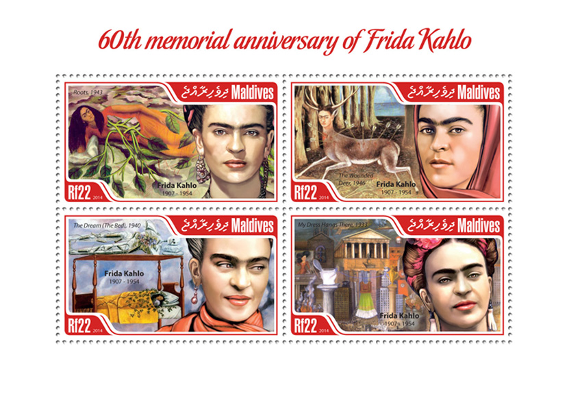 Frida Kahlo - Issue of Maldives postage stamps