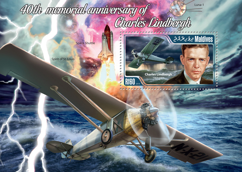 Charles Lindbergh  - Issue of Maldives postage stamps