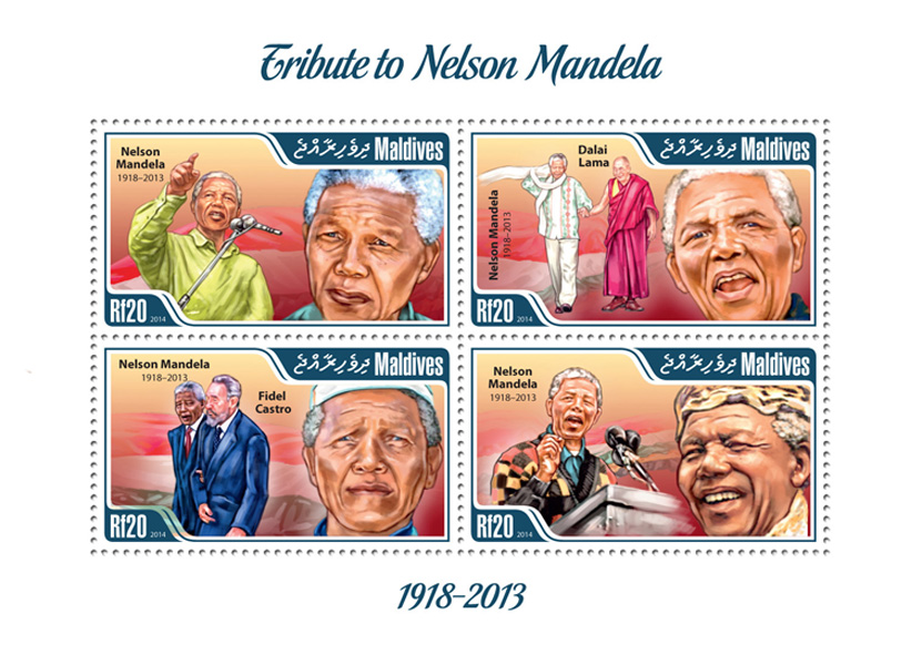 Nelson Mandela  - Issue of Maldives postage stamps