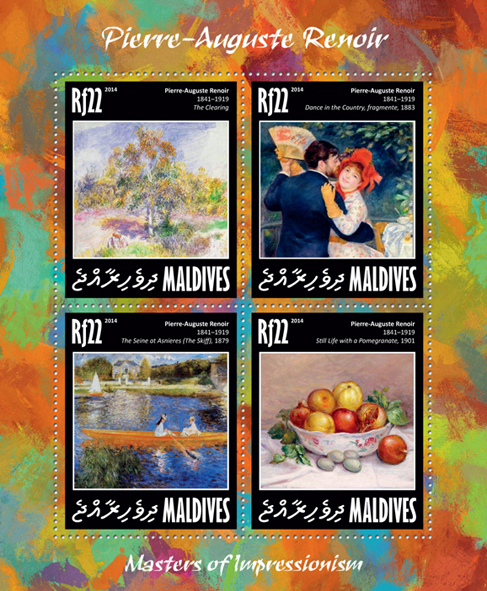 Pierre Auguste Renoir  - Issue of Maldives postage stamps