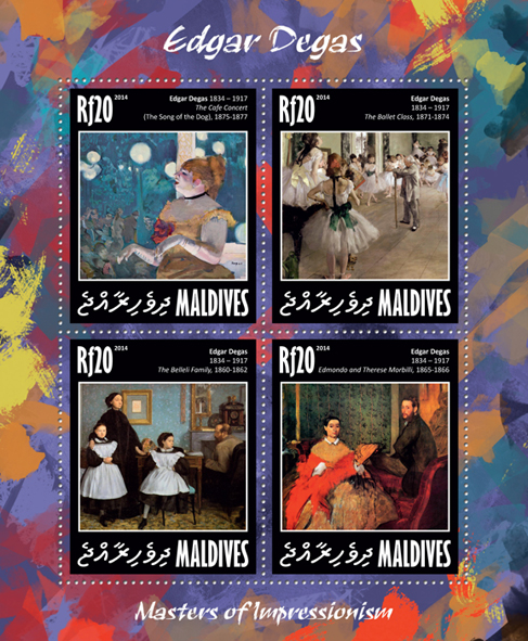 Edgar Degas - Issue of Maldives postage stamps