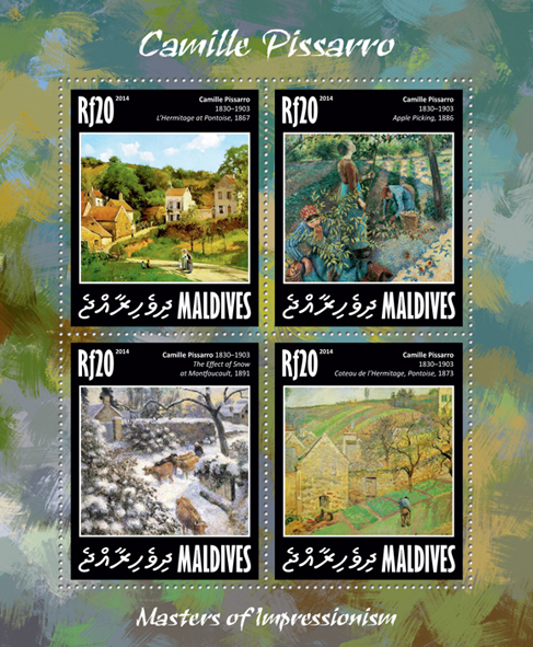 Camille Pissarro - Issue of Maldives postage stamps