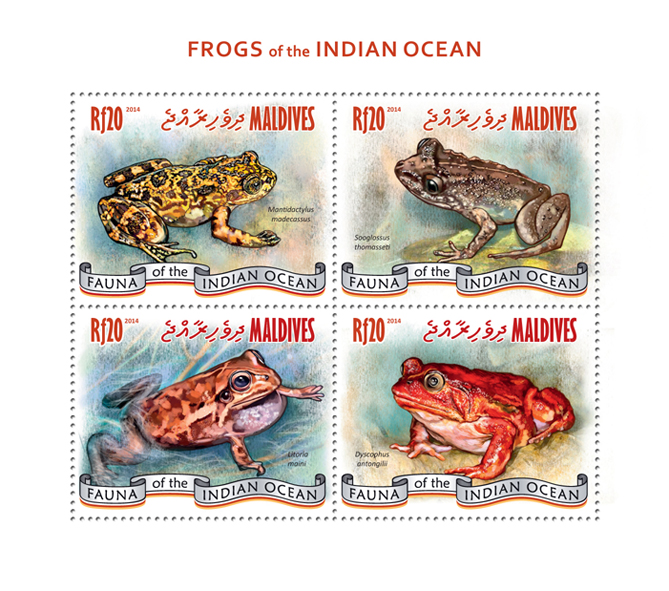 Frogs - Issue of Maldives postage stamps