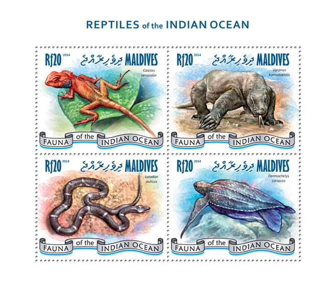 Reptiles - Issue of Maldives postage stamps