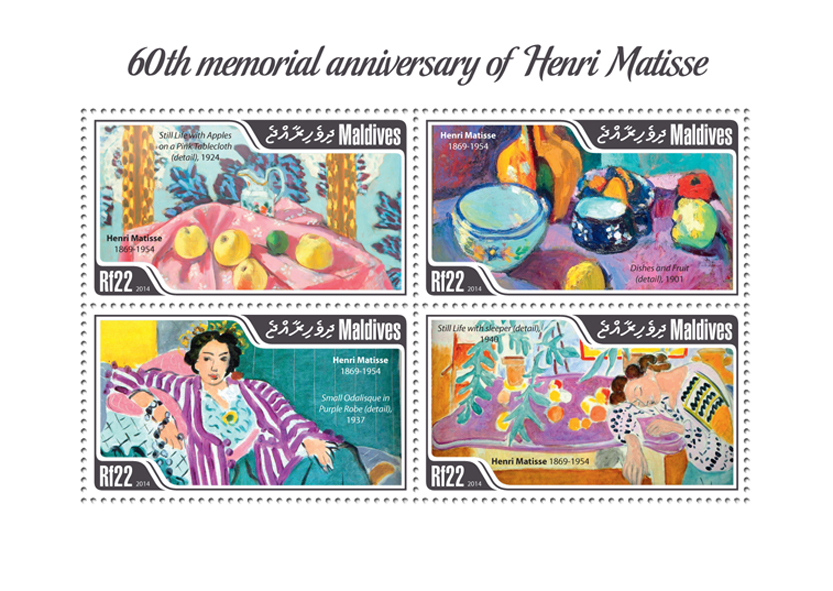 Henri Matisse  - Issue of Maldives postage stamps