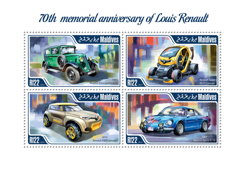 Louis Renault - Issue of Maldives postage stamps