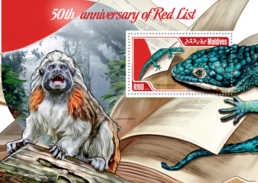 Red List  - Issue of Maldives postage stamps