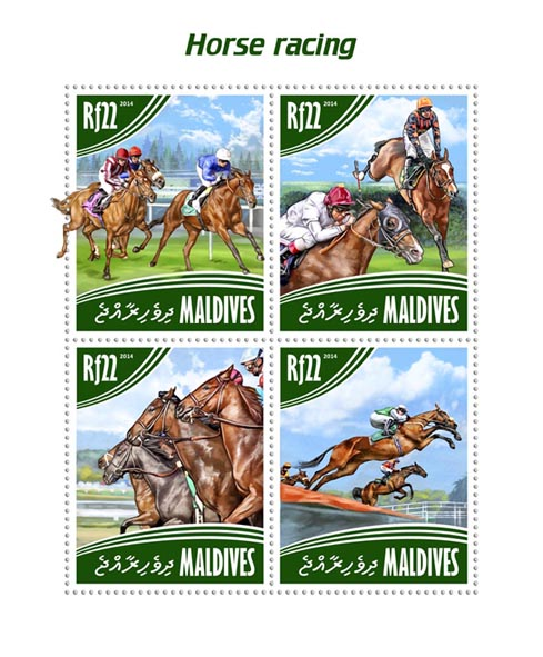 Horse racing - Issue of Maldives postage stamps