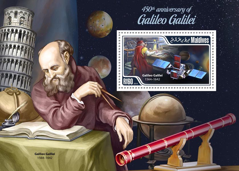 Galileo Galilei - Issue of Maldives postage stamps
