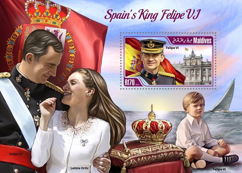 King Felipe VI - Issue of Maldives postage stamps