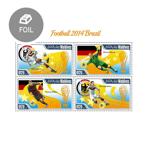 Football Brazil 2014 - Issue of Maldives postage stamps