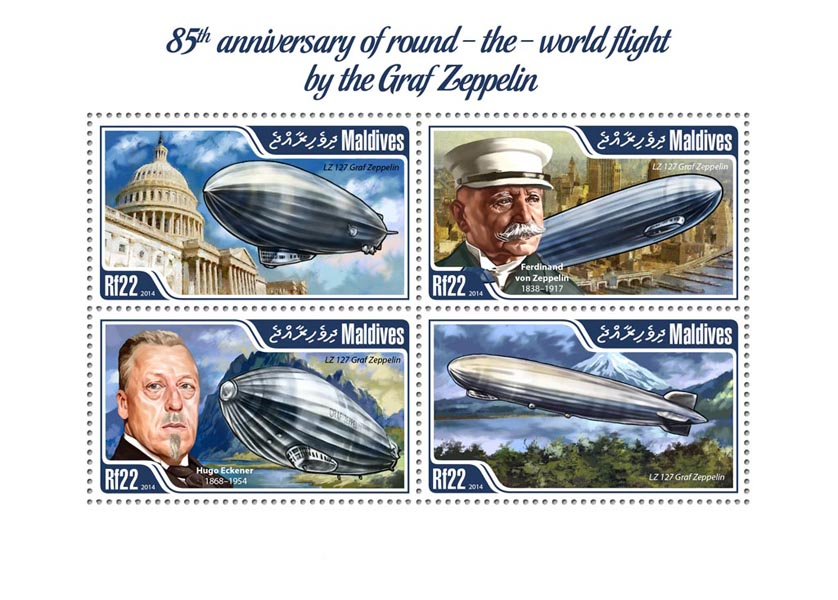 Graf Zeppelin - Issue of Maldives postage stamps