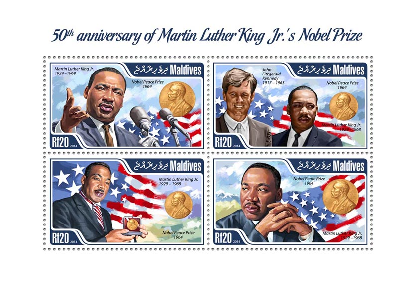 Martin Luther King - Issue of Maldives postage stamps