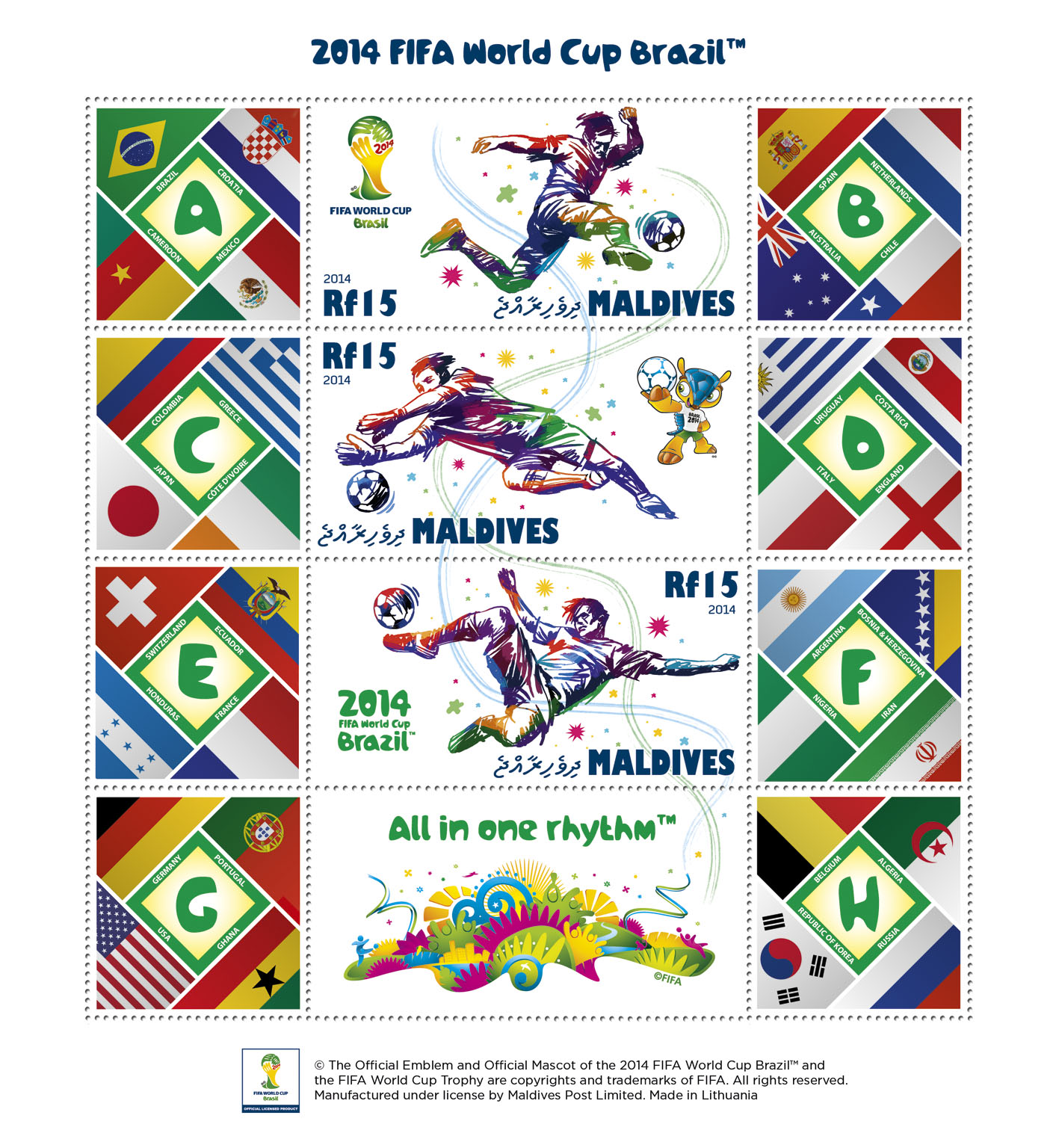 FIFA Football - Brazil 2014 (Sheet size - 180 x 195 mm) - Issue of Maldives postage stamps