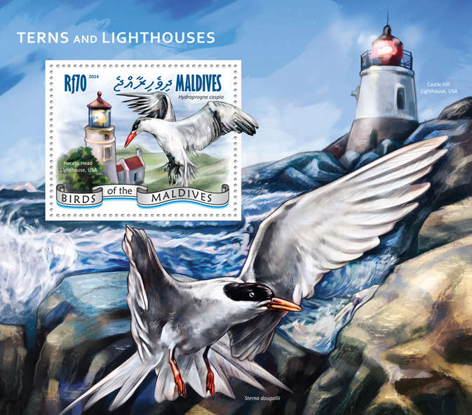 Terns and Lighthouses - Issue of Maldives postage stamps