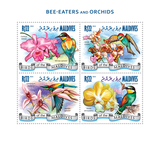 Bee-eaters and Orchids - Issue of Maldives postage stamps