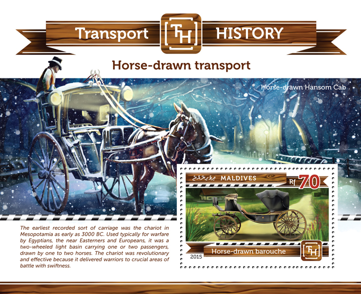Horse-drawn Transport - Issue of Maldives postage stamps