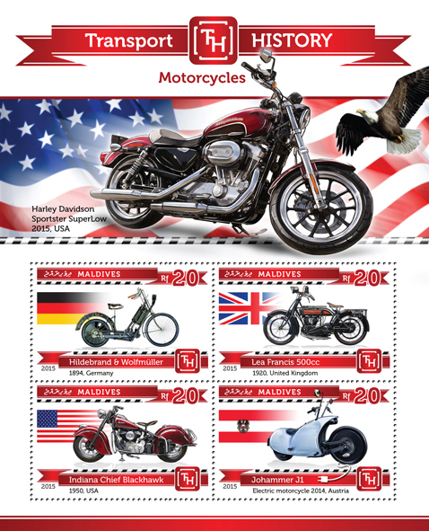 Motorcycles - Issue of Maldives postage stamps