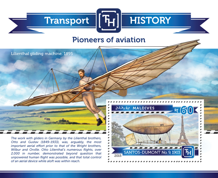 Pioneers of Aviation - Issue of Maldives postage stamps