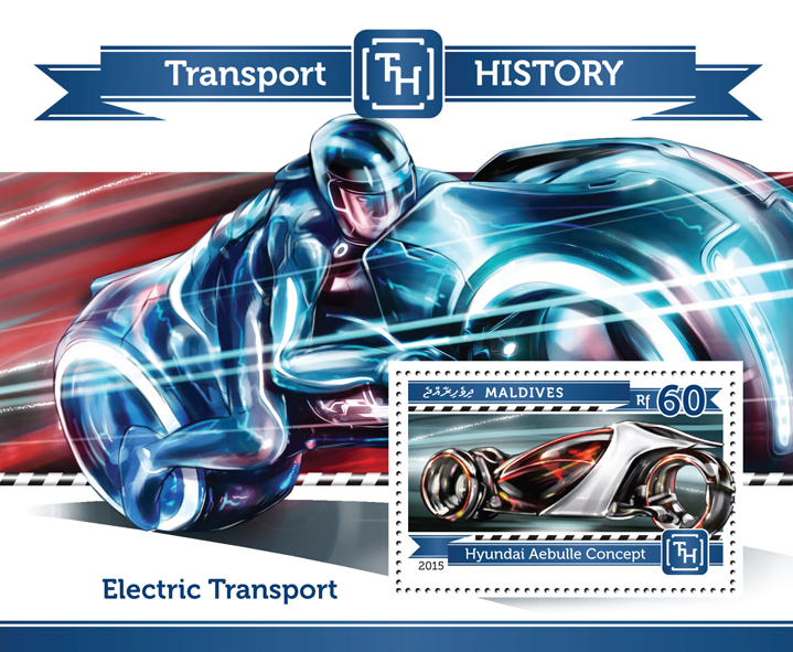 Electric Transport  - Issue of Maldives postage stamps