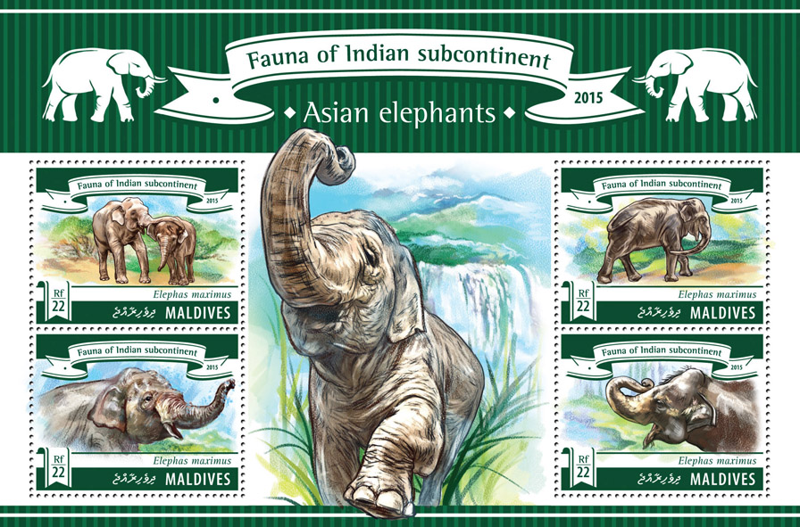 Asian Elephants - Issue of Maldives postage stamps