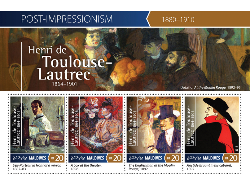 Henri de Toulouse-Lautrec - Issue of Maldives postage stamps