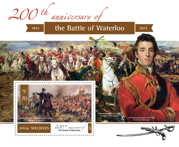 The Battle of Waterloo - Issue of Maldives postage stamps