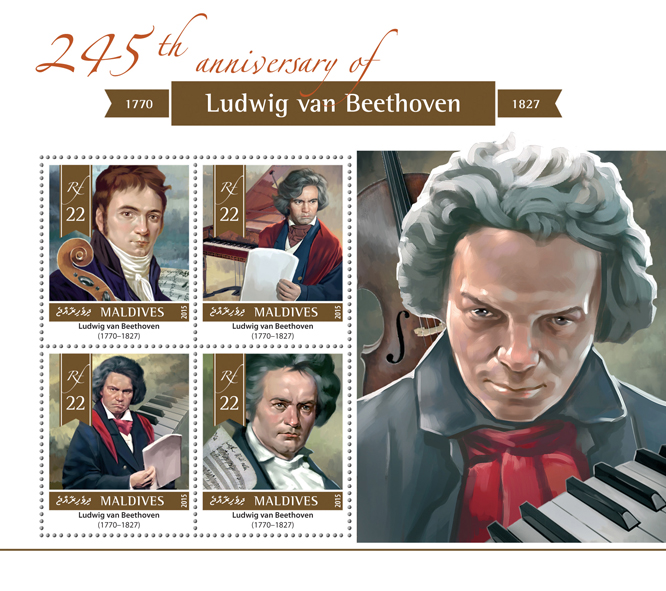 Ludwig van Beethoven - Issue of Maldives postage stamps