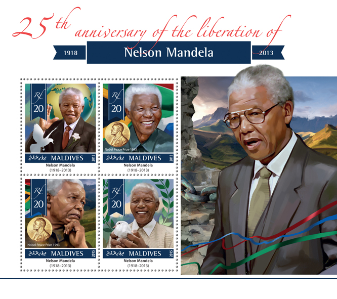 Nelson Mandela - Issue of Maldives postage stamps