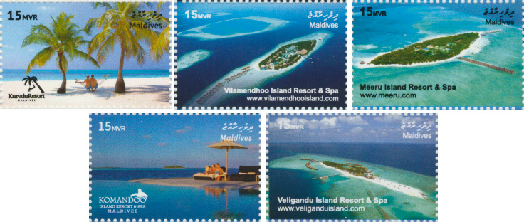 RESORTS 5v - Issue of Maldives postage stamps