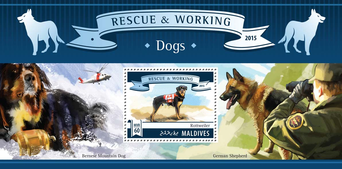 Dogs - Issue of Maldives postage stamps
