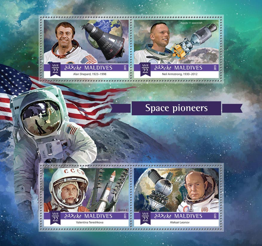 Space pioneers - Issue of Maldives postage stamps
