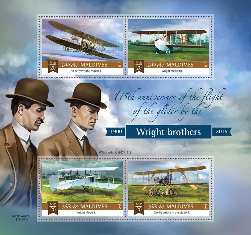 Wright brothers - Issue of Maldives postage stamps