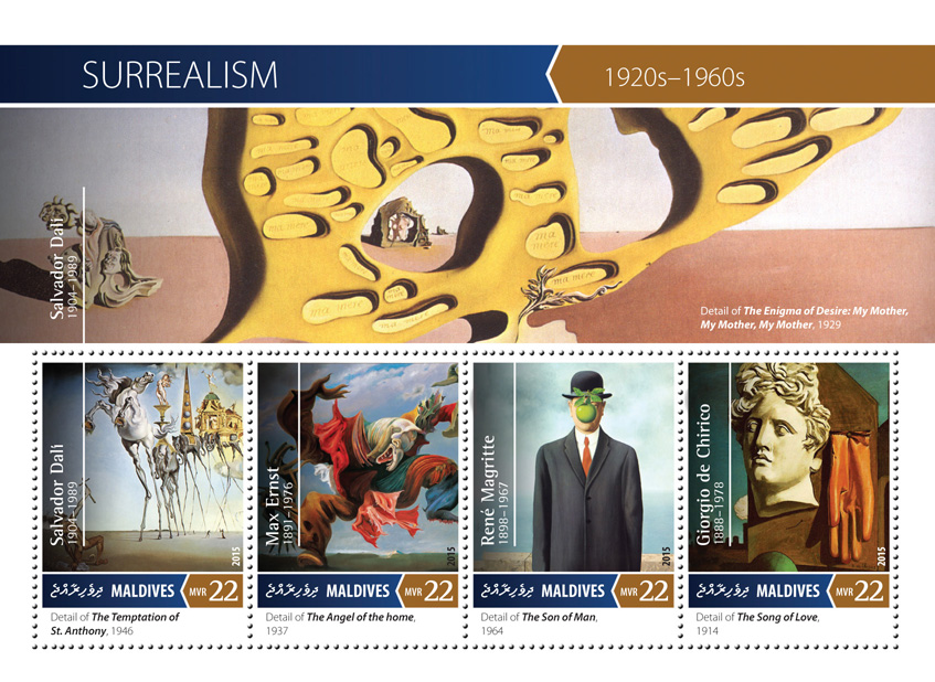 Surrealism - Issue of Maldives postage stamps
